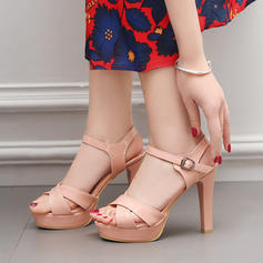 Women's PVC Chunky Heel Sandals Pumps Platform Peep Toe Slingbacks With Buckle shoes