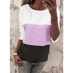 Kleurblok Ronde Hals Lange Mouwen Casual T-shirts