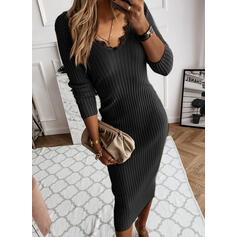 Lace/Solid Long Sleeves Bodycon Sweater Little Black/Elegant Midi Dresses