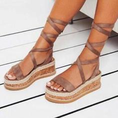 Femmes PU Talon compensé Sandales Compensée À bout ouvert avec Dentelle chaussures