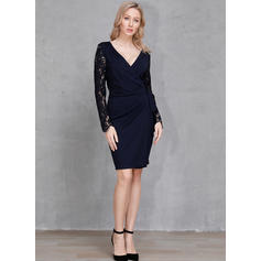 Solid Long Sleeves Sheath Knee Length Casual/Party Dresses