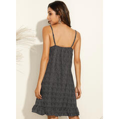Print/Floral/PolkaDot Sleeveless Shift Above Knee Casual/Vacation Slip Dresses