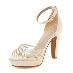 Women's PU Chunky Heel Sandals Pumps Platform Peep Toe With Buckle shoes