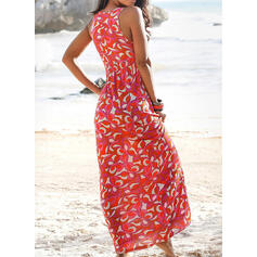 Print Sleeveless A-line Casual/Boho/Vacation Maxi Dresses