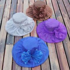 Ladies ' Piękny Organza Z Bowknot Floppy Hat