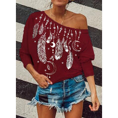 Print One-Shoulder 3/4 Sleeves Casual Blouses