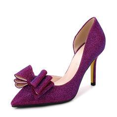 Femmes Pailletes scintillantes Talon stiletto Escarpins Bout fermé avec Bowknot Pailletes scintillantes chaussures