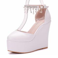 Women's Leatherette Wedge Heel Closed Toe Wedges With Tassel