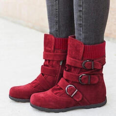 Women's PU Flat Heel Flats Boots Mid-Calf Boots With Buckle shoes