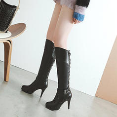 Women's Leatherette Stiletto Heel Boots With Lace-up shoes