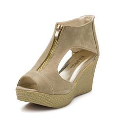 Naisten Mokkanahka Wedge heel Sandaalit Avokkaat Platform Kiilat Peep toe jossa Vetoketju kengät