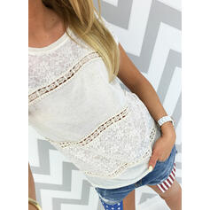 Solid Lace Round Neck Short Sleeves Casual T-shirts