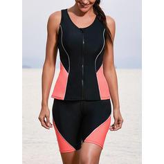 Splice color U Neck Fashionable Beautiful Tankinis Swimsuits