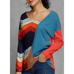 Bloque de color Rayado Cuello en V Manga Larga Casual Blusas