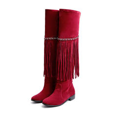 Women's Leatherette Low Heel Boots Mid-Calf Boots With Tassel shoes