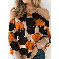 Tierdruck Halloween Schulterfrei Lange Ärmel Pullover