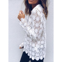 Lace Round Neck Long Sleeves Casual Sheer Blouses