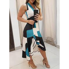 Geometrischer Druck Ärmellos A-Linien Bolero/Skater Elegant Midi Kleider