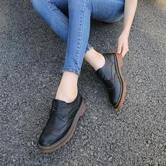 Vrouwen Kunstleer Chunky Heel Flats met Vastrijgen schoenen