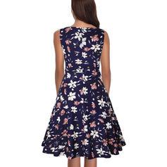 Floral Round Neck Knee Length A-line Dress