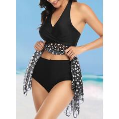 Punto stella Stampa A bikini Scollatura a V Elegante Stile classico Costumi da Bagno Donna Costumi Da Bagno