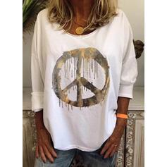 Print Ronde Hals Lange Mouwen Casual T-shirts