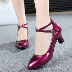 Women's Ballroom Pumps Patent Leather With Ankle Strap Modern