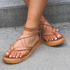 De mujer PU Tacón plano Sandalias Planos Encaje Chancletas con Hebilla zapatos