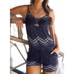 Print Spaghetti Strap Sleeveless Casual Boho Vacation Romper