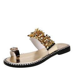 Femmes PVC Talon plat Sandales Chaussons avec Paillette chaussures
