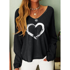 Serce Nadruk Dekolt w kształcie litery V Długie rękawy T-shirty