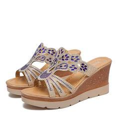 Dámské PU Klínový podpatek Sandály S otevřenou špičkou Pantofle S Napodobenina drahokamu obuv