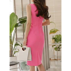 Solid Sleeveless Sheath Knee Length Casual/Elegant Dresses