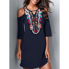 Print 3/4 Sleeves Sheath Above Knee Casual Dresses