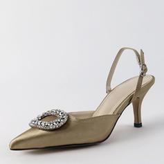 Dla kobiet Skóra ekologiczna Obcas Slupek Sandały Czólenka Zakryte Palce Bez Pięty Z Kryształ obuwie