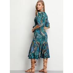 Print 1/2 Sleeves/Split Sleeve A-line Knee Length Casual/Elegant/Vacation Dresses