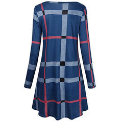 Plaid Long Sleeves Shift Above Knee Casual Dresses