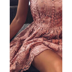 Floral/Solid Sleeveless A-line Above Knee Party Slip/Skater Dresses