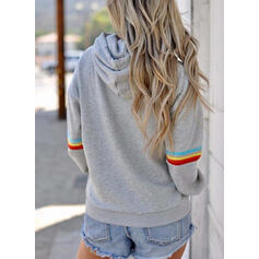 Animal Print Striped Long Sleeves Hoodie