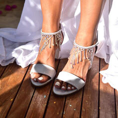 Women's Leatherette Chunky Heel Sandals Peep Toe With Rhinestone Pearl Imitation Pearl Sparkling Glitter Buckle shoes