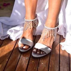 Femmes Similicuir Talon bottier Sandales À bout ouvert avec Strass Pearl Perle d'imitation Pailletes scintillantes Boucle chaussures