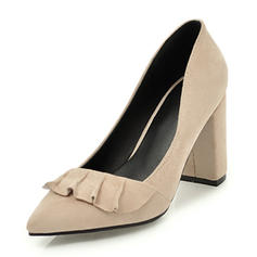 Women's Suede Chunky Heel Pumps Closed Toe With Ruffles shoes