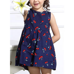 Girls Round Neck Print Casual Dress