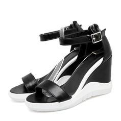 Femmes PVC Talon compensé Sandales Escarpins Compensée À bout ouvert avec Boucle chaussures