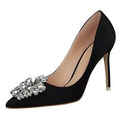 Dla kobiet Satyna Obcas Stiletto Czólenka Zakryte Palce Z Stras/ Krysztal Górski obuwie