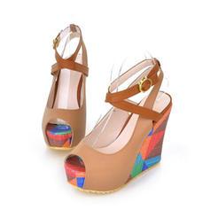 Dla kobiet PU Obcas Koturnowy Sandały Czólenka Koturny Otwarty Nosek Buta Z Klamra obuwie