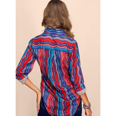 Chiffon Long Sleeves Striped