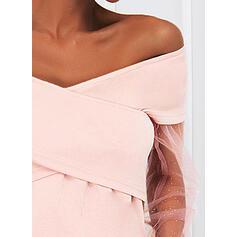 Solid Sequins Long Sleeves A-line Above Knee Elegant Skater Dresses