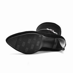 De mujer Ante Tacón stilettos Salón Botas a la rodilla con Rhinestone Cremallera zapatos
