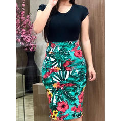 Floral Round Neck Knee Length Bodycon Dress